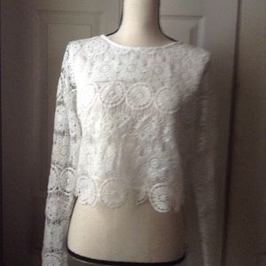 Tops - White Lace Long Sleeve Top.  Small